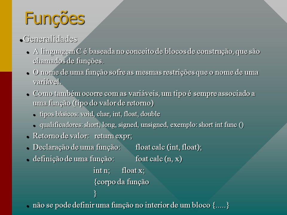 Funções Generalidades Generalidades A linguagem C é baseada no conceito de blocos de construção, que são chamados de funções. A linguagem C é baseada