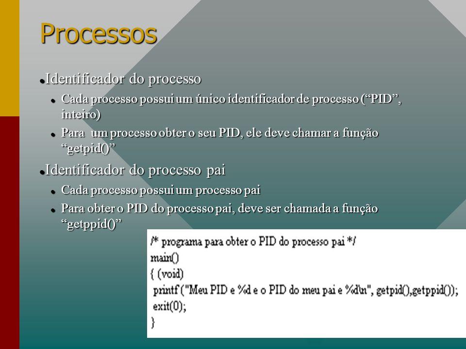 Processos Identificador do processo Identificador do processo Cada processo possui um único identificador de processo (PID, inteiro) Cada processo pos