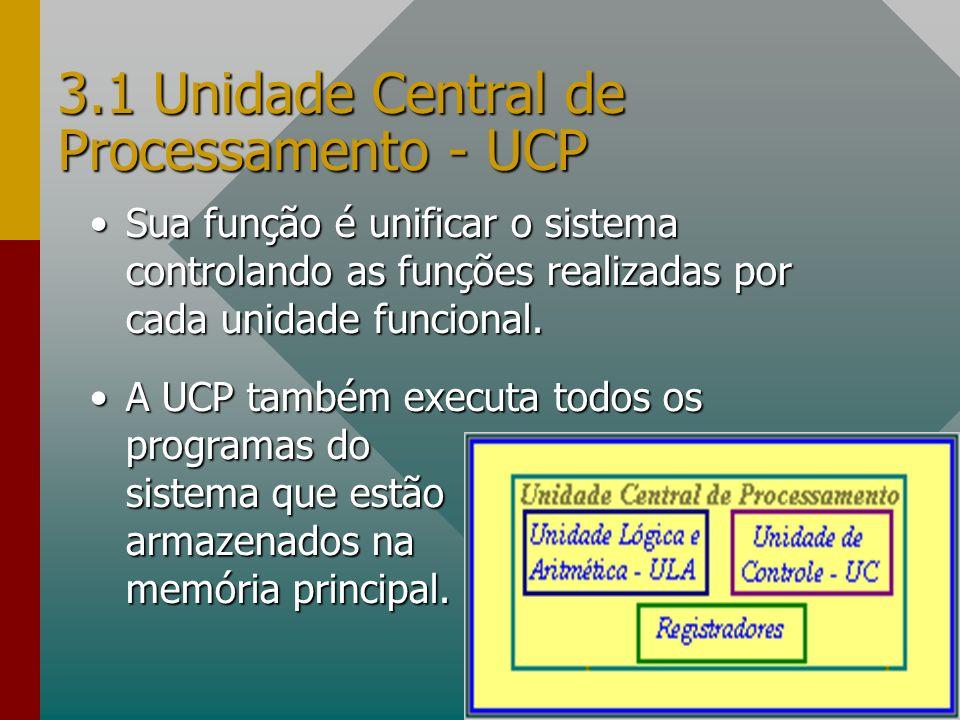3.1 Unidade Central de Processamento - UCP Sua função é unificar o sistema controlando as funções realizadas por cada unidade funcional.Sua função é u