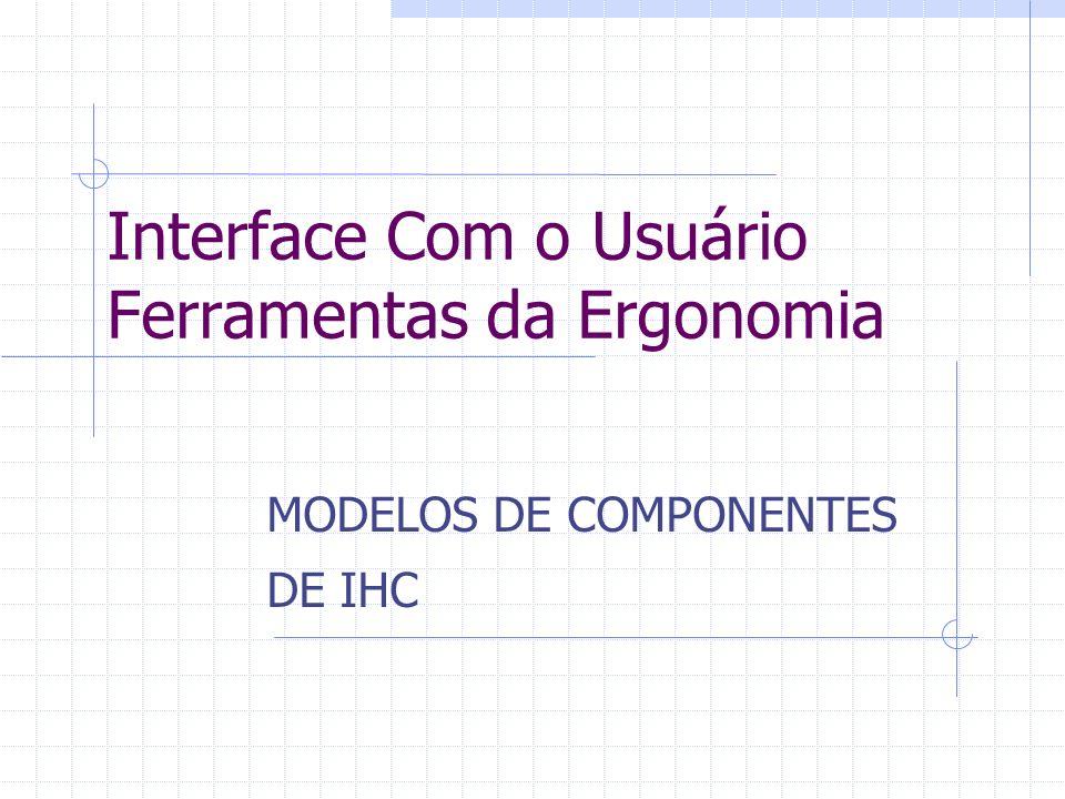 Interface Com o Usuário Ferramentas da Ergonomia MODELOS DE COMPONENTES DE IHC