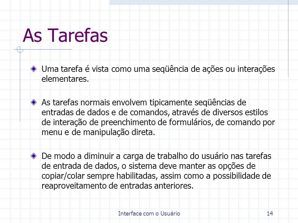 Interface com o Usuário14 As Tarefas Uma tarefa é vista como uma seqüência de ações ou interações elementares. As tarefas normais envolvem tipicamente
