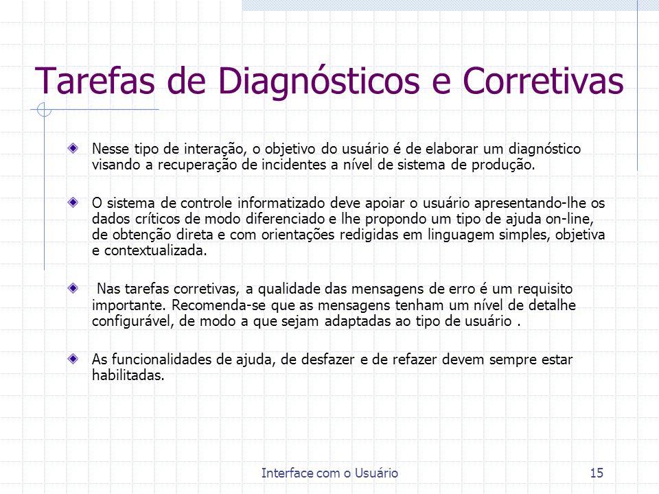 Interface com o Usuário15 Tarefas de Diagnósticos e Corretivas Nesse tipo de interação, o objetivo do usuário é de elaborar um diagnóstico visando a r