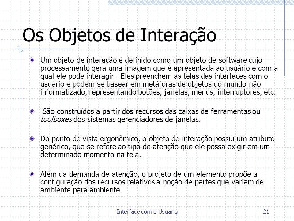 Interface com o Usuário21 Os Objetos de Interação Um objeto de interação é definido como um objeto de software cujo processamento gera uma imagem que