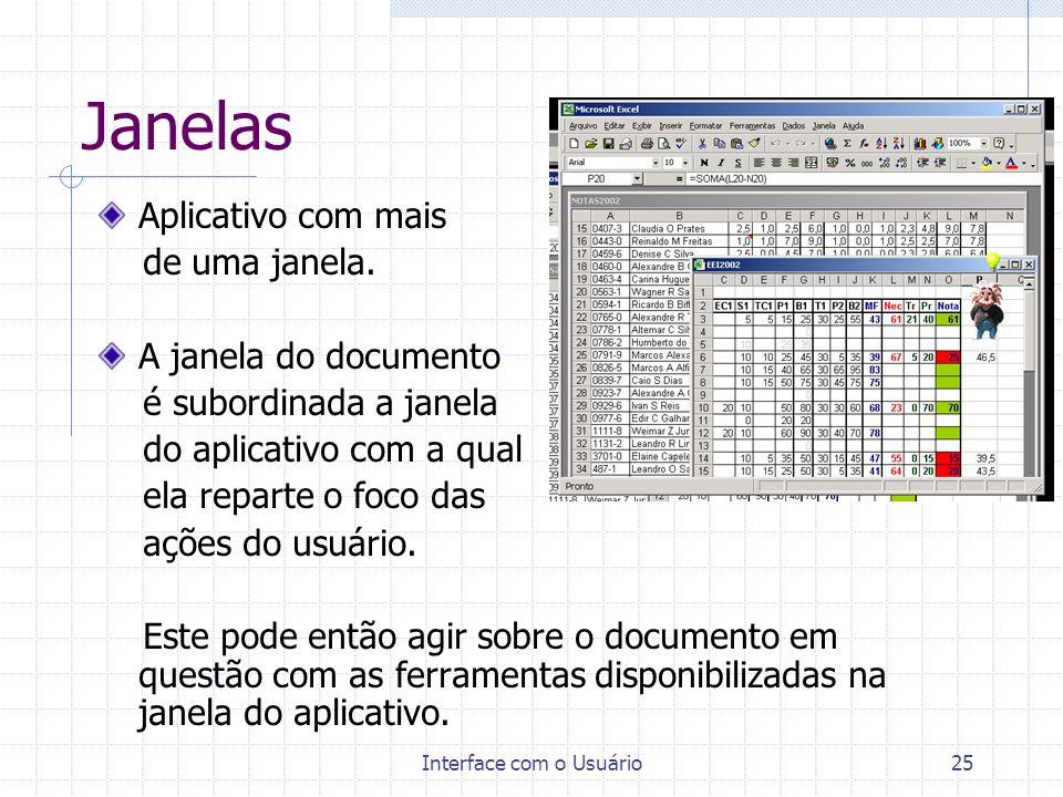 Interface com o Usuário25 Janelas Aplicativo com mais de uma janela. A janela do documento é subordinada a janela do aplicativo com a qual ela reparte