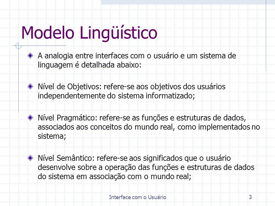 Interface com o Usuário4 Modelo Lingüístico Nível Sintáxico: refere-se tanto aos diálogos como as telas, janelas e caixas de diálogo individuais.Trata das relações entre os objetos de interação apresentados numa seqüência de telas, e de modo concorrente, em uma única tela; Nível Lexical: refere-se aos nomes dos comandos e desenhos de ícones.
