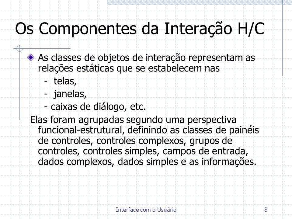 Interface com o Usuário9 Os Componentes da Interação H/C TABELA 2 - Modelo de Componentes de Interfaces Humano-computador Organização das Componentes Classes de Componentes Ações Ações de EntradaAção de entrada de dado/comando Ação de tratamento demorado Tarefas Objetivos Estilos Estruturas Tarefa de Entrada de Dados, Tarefa Destrutiva, Tarefa Corretiva, Tarefa de Recuperação de Erros e Incidentes, Estilos Diálogo por Preenchimento de Formulário, Diálogo por Menu, Diálogo por Questão x Resposta, Diálogo por Manipulação Direta Estruturas Tarefa Paralela, Tarefa Sequenncial, Tarefa Repetitiva