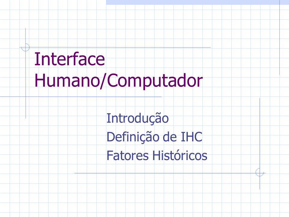 Interfaces antigas Principais características: Sem recursos gráficos Comandos: realizados linha a linha Interface difícil para usuários inexperientes Necessidade de conhecimento prévio dos comandos e de sua utilidade Dificuldades para gerenciamento de programas e arquivos Telas cansativas com duas cores e caracteres de tamanhos fixos