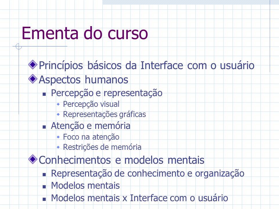 Ementa do curso Metáforas e modelos conceituais Metáforas verbais, virtuais e de interface Modelos conceituais Aspectos tecnológicos Entrada/Saída Estilos de interação Design de sistemas de janelas Informação on-line de suporte ao usuário Design para trabalho cooperativo e ambientes virtuais Design da interação: métodos e técnicas Princípios e métodos do design para o usuário Definição de requisitos Análise da tarefa Design estruturado