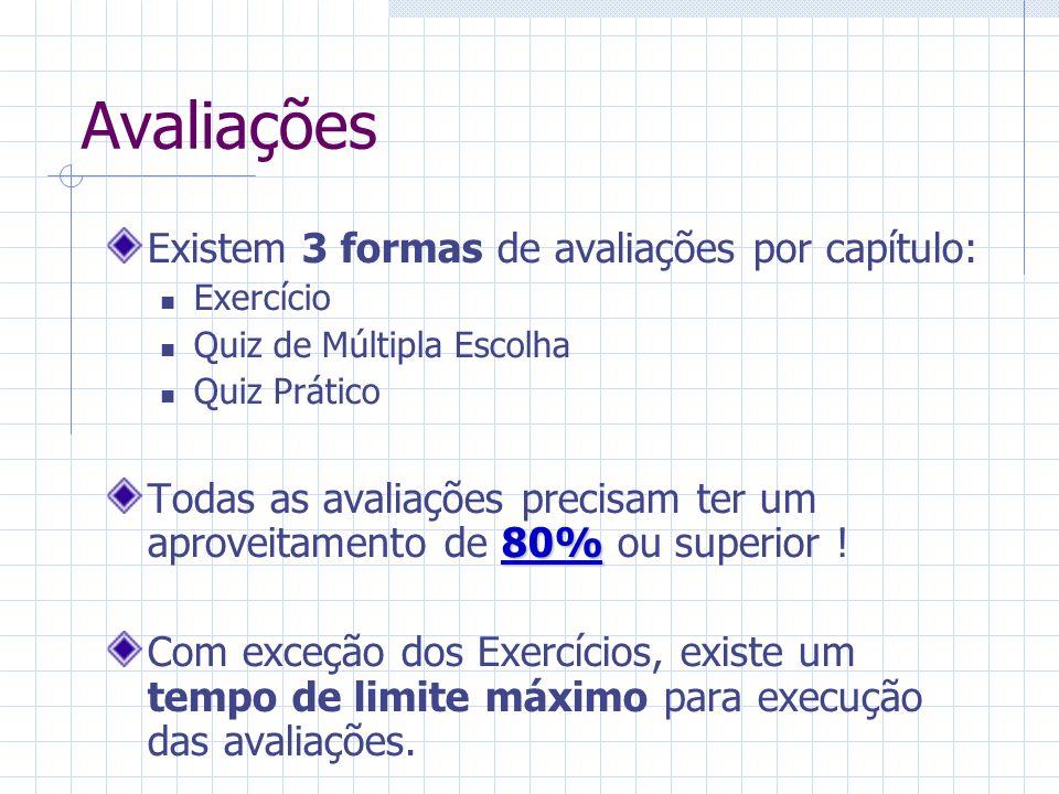 Avaliações Existem 3 formas de avaliações por capítulo: Exercício Quiz de Múltipla Escolha Quiz Prático 80% Todas as avaliações precisam ter um aproveitamento de 80% ou superior .