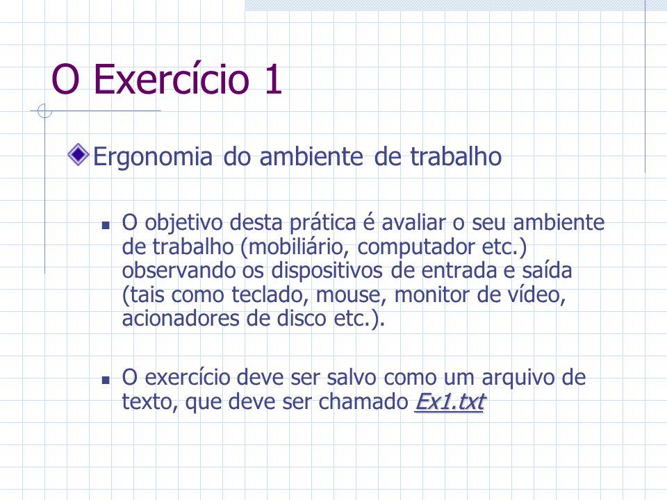 O Exercício 1 Ergonomia do ambiente de trabalho O objetivo desta prática é avaliar o seu ambiente de trabalho (mobiliário, computador etc.) observando os dispositivos de entrada e saída (tais como teclado, mouse, monitor de vídeo, acionadores de disco etc.).