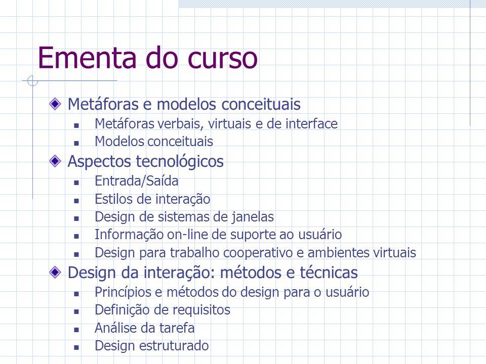 Ementa do curso Ferramentas de suporte ao design Guidelines Padrões e métricas Prototipação Software de suporte