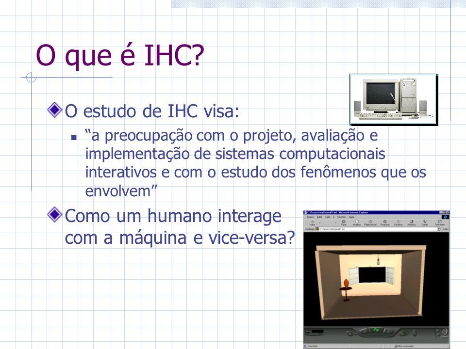 Estado da arte em IHC O projetista deve preocupar-se com os dois lados: Lado da máquina conhecer sistemas operacionais; linguagens de programação e gráficas; e projeto de ambientes de interação.