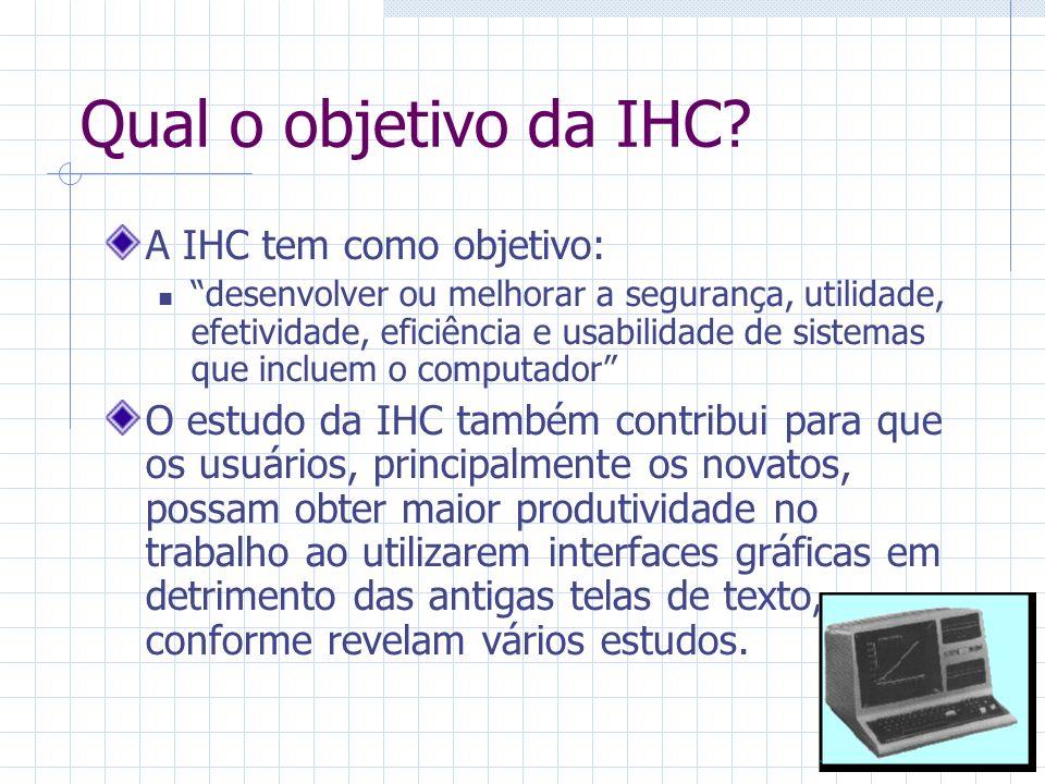 Interdisciplinaridade da IHC A IHC é oriunda da união de várias disciplinas, cada uma com ênfase em uma área diferente: 1.