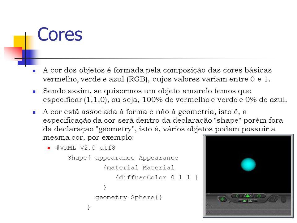 Cores A cor dos objetos é formada pela composição das cores básicas vermelho, verde e azul (RGB), cujos valores variam entre 0 e 1.