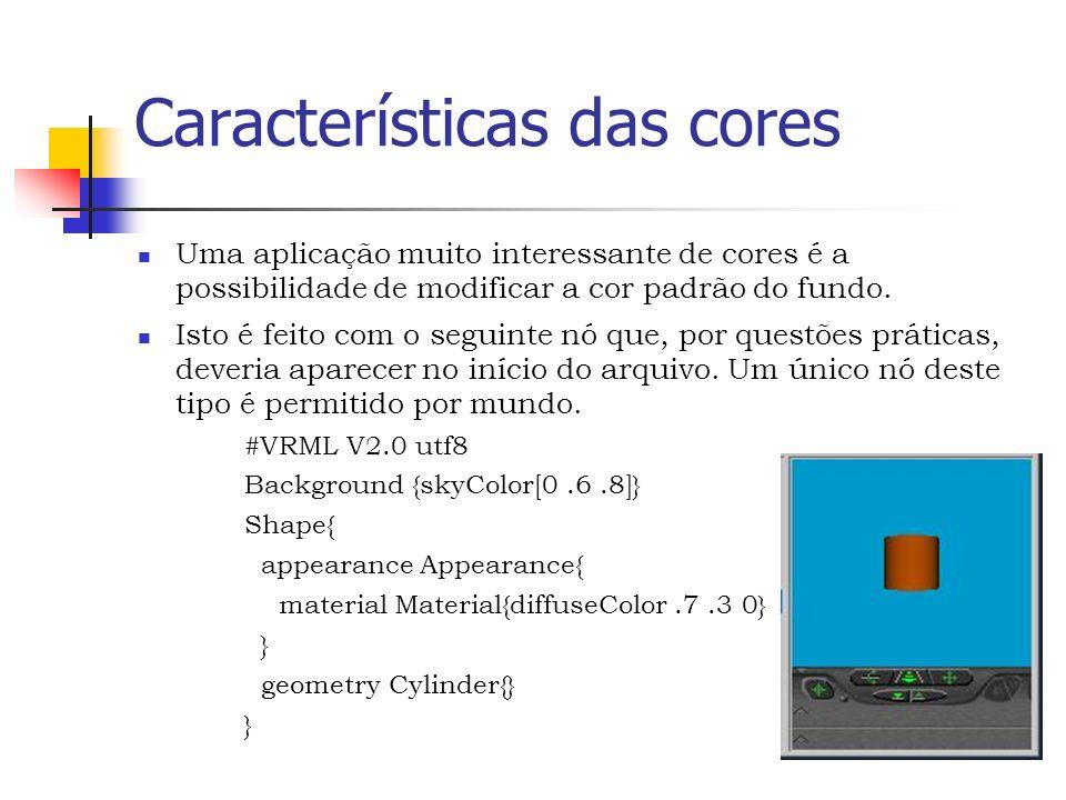 Características das cores Uma aplicação muito interessante de cores é a possibilidade de modificar a cor padrão do fundo.