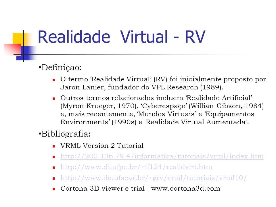 Realidade Virtual - RV Definição: O termo Realidade Virtual (RV) foi inicialmente proposto por Jaron Lanier, fundador do VPL Research (1989).