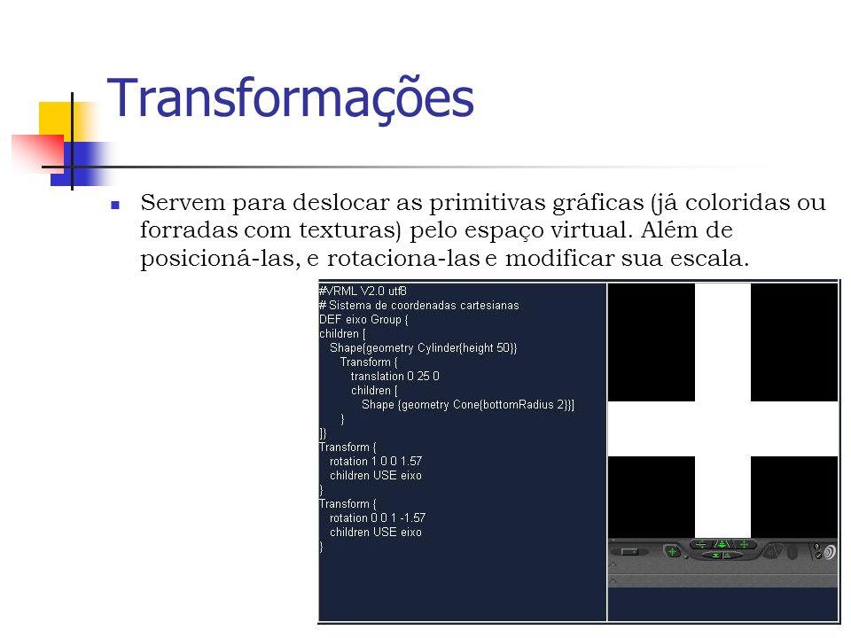 Transformações Servem para deslocar as primitivas gráficas (já coloridas ou forradas com texturas) pelo espaço virtual.