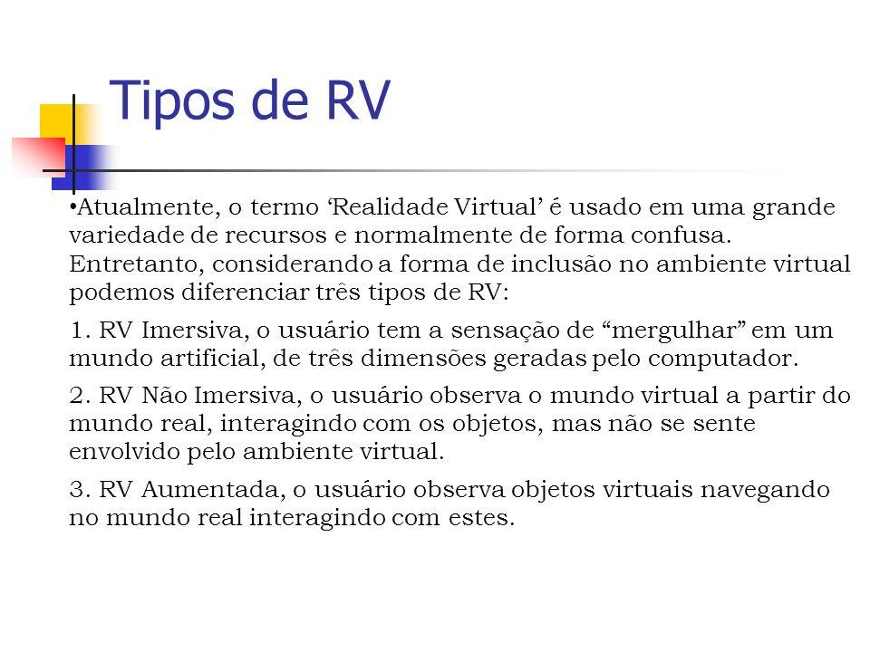 Tipos de RV Atualmente, o termo Realidade Virtual é usado em uma grande variedade de recursos e normalmente de forma confusa.
