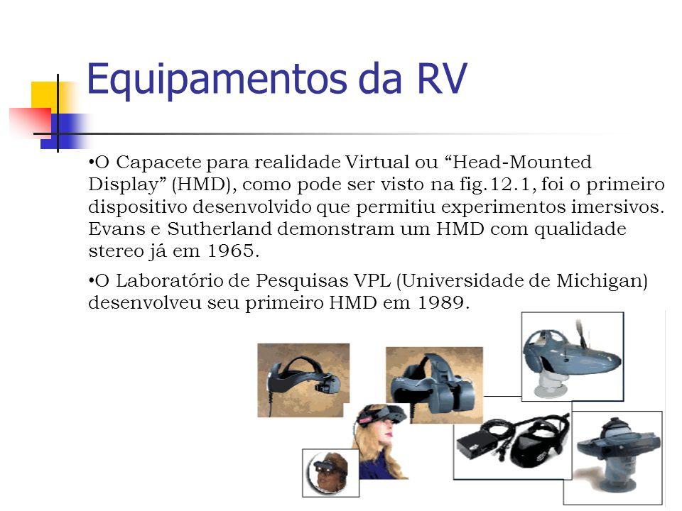 Equipamentos da RV O Capacete para realidade Virtual ou Head-Mounted Display (HMD), como pode ser visto na fig.12.1, foi o primeiro dispositivo desenvolvido que permitiu experimentos imersivos.