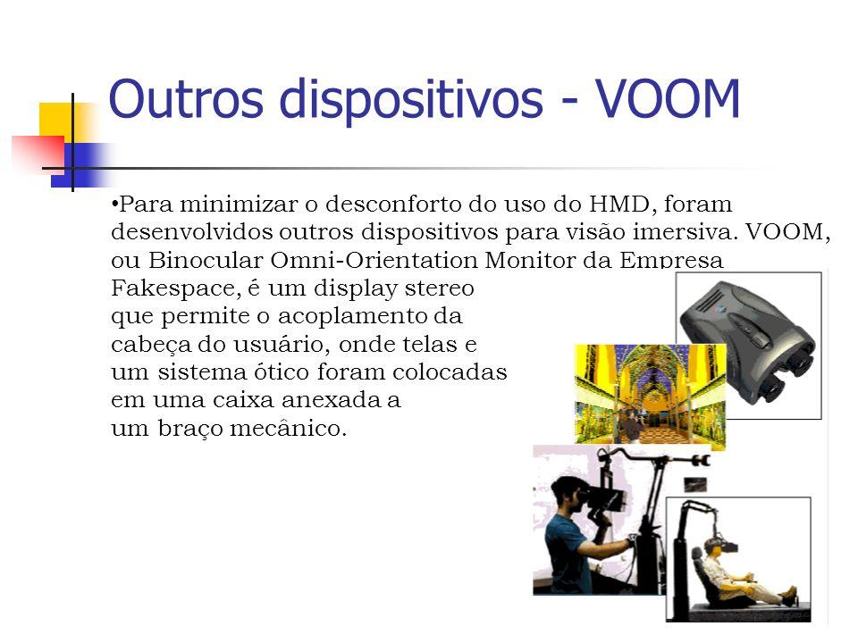 Outros dispositivos - VOOM Para minimizar o desconforto do uso do HMD, foram desenvolvidos outros dispositivos para visão imersiva.