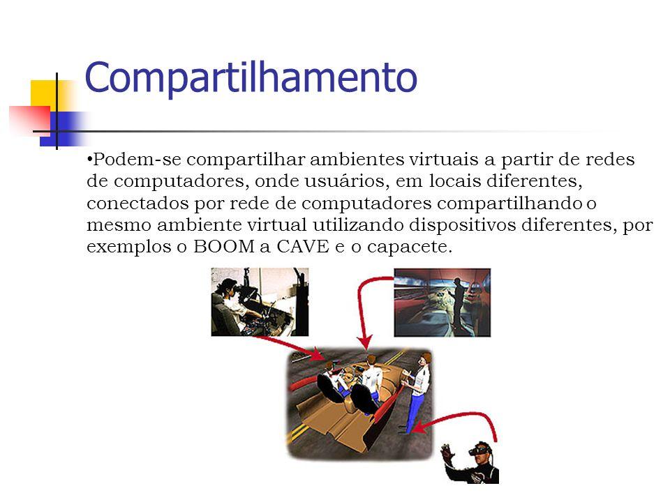 Compartilhamento Podem-se compartilhar ambientes virtuais a partir de redes de computadores, onde usuários, em locais diferentes, conectados por rede de computadores compartilhando o mesmo ambiente virtual utilizando dispositivos diferentes, por exemplos o BOOM a CAVE e o capacete.