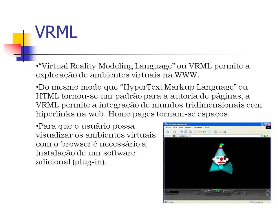 VRML Virtual Reality Modeling Language ou VRML permite a exploração de ambientes virtuais na WWW.