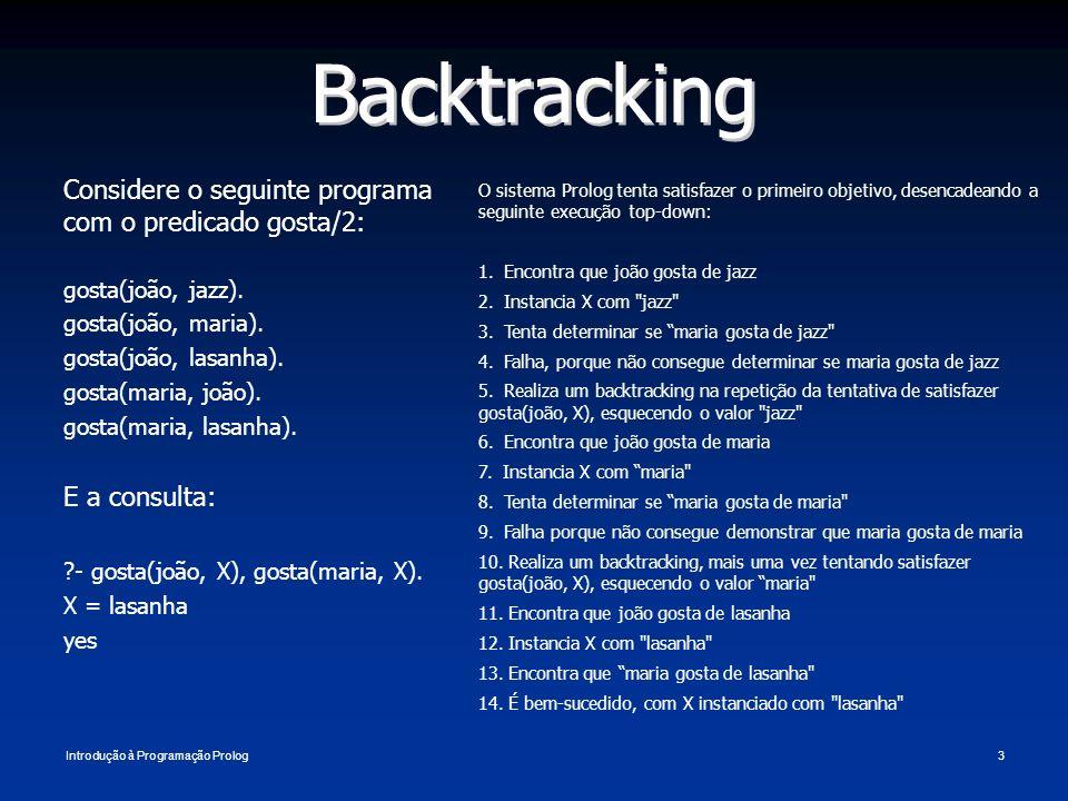 Introdução à Programação Prolog3 Backtracking Considere o seguinte programa com o predicado gosta/2: gosta(joão, jazz). gosta(joão, maria). gosta(joão