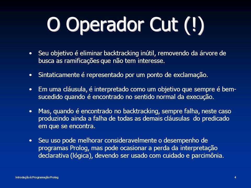 Introdução à Programação Prolog4 O Operador Cut (!) Seu objetivo é eliminar backtracking inútil, removendo da árvore de busca as ramificações que não