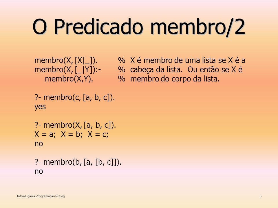 Introdução à Programação Prolog5 O Predicado membro/2 membro(X, [X _]). % X é membro de uma lista se X é a membro(X, [_ Y]):-% cabeça da lista. Ou ent