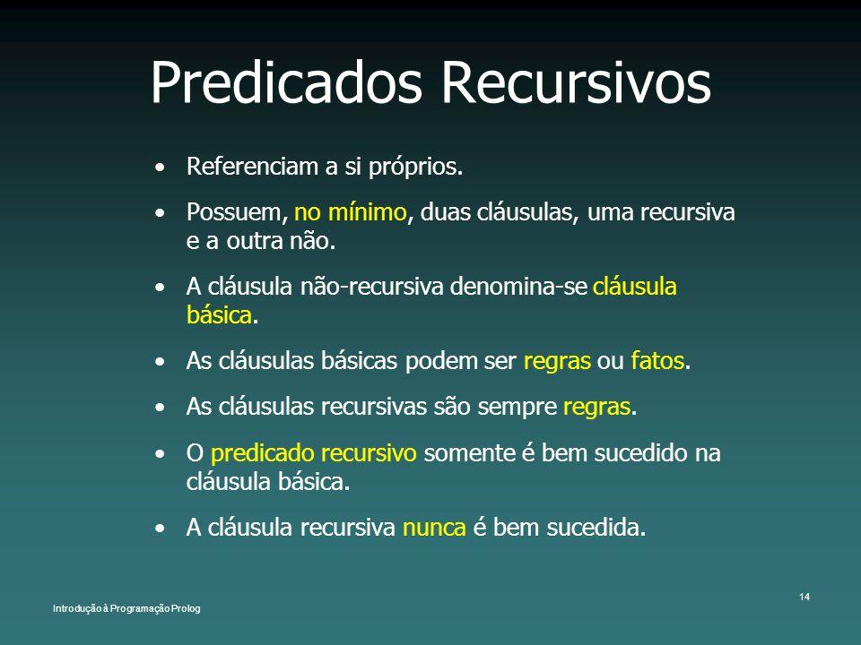 Introdução à Programação Prolog 14 Predicados Recursivos Referenciam a si próprios. Possuem, no mínimo, duas cláusulas, uma recursiva e a outra não. A