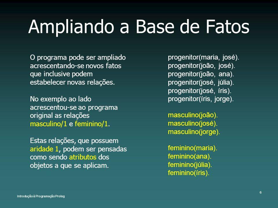 Introdução à Programação Prolog 6 Ampliando a Base de Fatos O programa pode ser ampliado acrescentando-se novos fatos que inclusive podem estabelecer