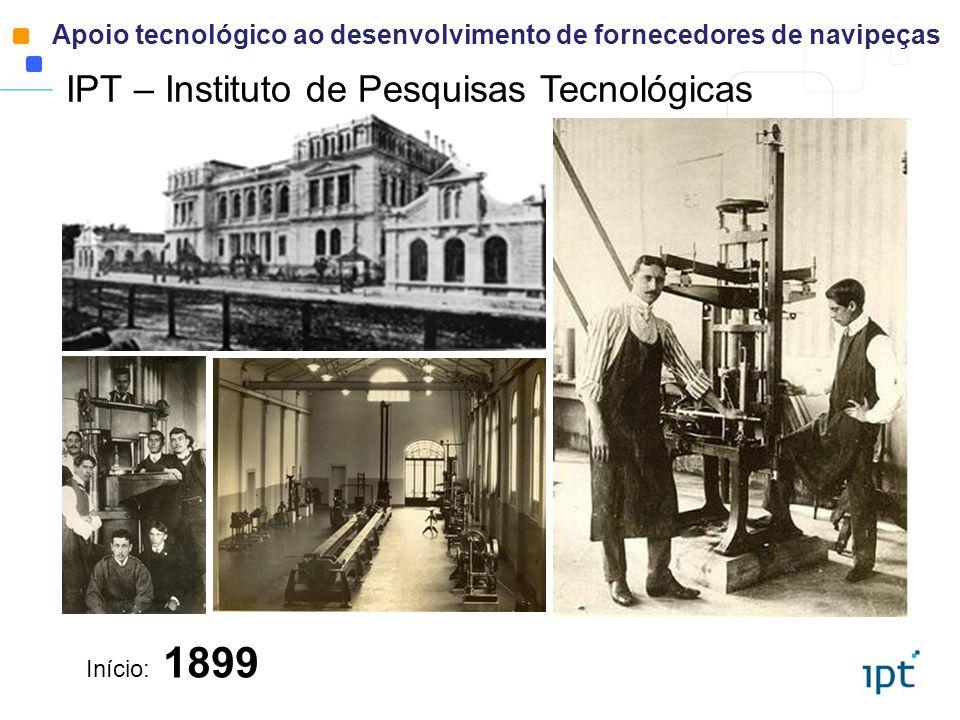 Início: 1899 IPT – Instituto de Pesquisas Tecnológicas Apoio tecnológico ao desenvolvimento de fornecedores de navipeças