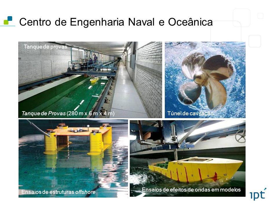 Centro de Engenharia Naval e Oceânica Tanque de Provas (280 m x 6 m x 4 m) Tanque de provas Túnel de cavitação Ensaios de efeitos de ondas em modelos