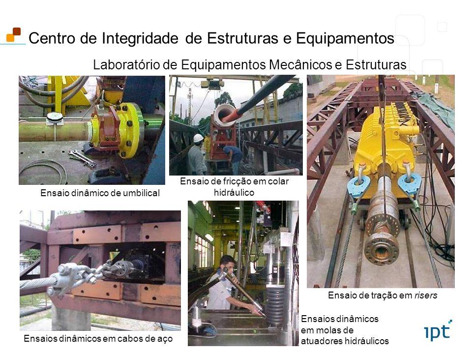 Laboratório de Equipamentos Mecânicos e Estruturas Ensaio de tração em risers Ensaio dinâmico de umbilical Ensaios dinâmicos em molas de atuadores hid