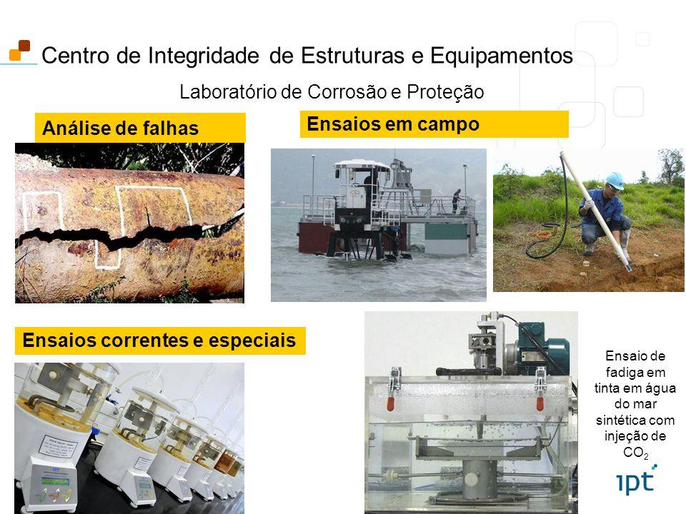 Análise de falhas Laboratório de Corrosão e Proteção Centro de Integridade de Estruturas e Equipamentos Ensaios em campo Ensaios correntes e especiais