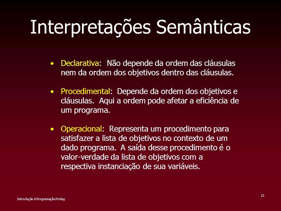 Introdução à Programação Prolog 12 Interpretações Semânticas Declarativa: Não depende da ordem das cláusulas nem da ordem dos objetivos dentro das clá