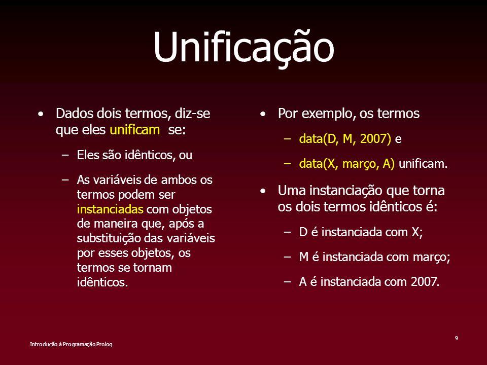 Introdução à Programação Prolog 9 Unificação Dados dois termos, diz-se que eles unificam se: –Eles são idênticos, ou –As variáveis de ambos os termos
