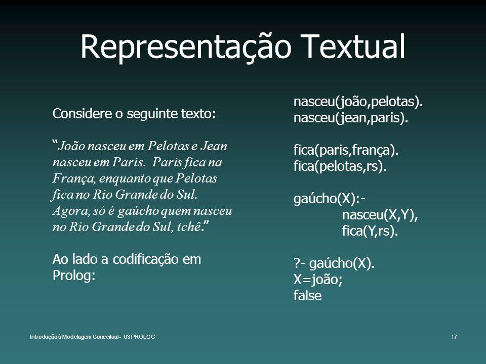 Introdução à Modelagem Conceitual - 03 PROLOG17 Representação Textual Considere o seguinte texto: João nasceu em Pelotas e Jean nasceu em Paris. Paris