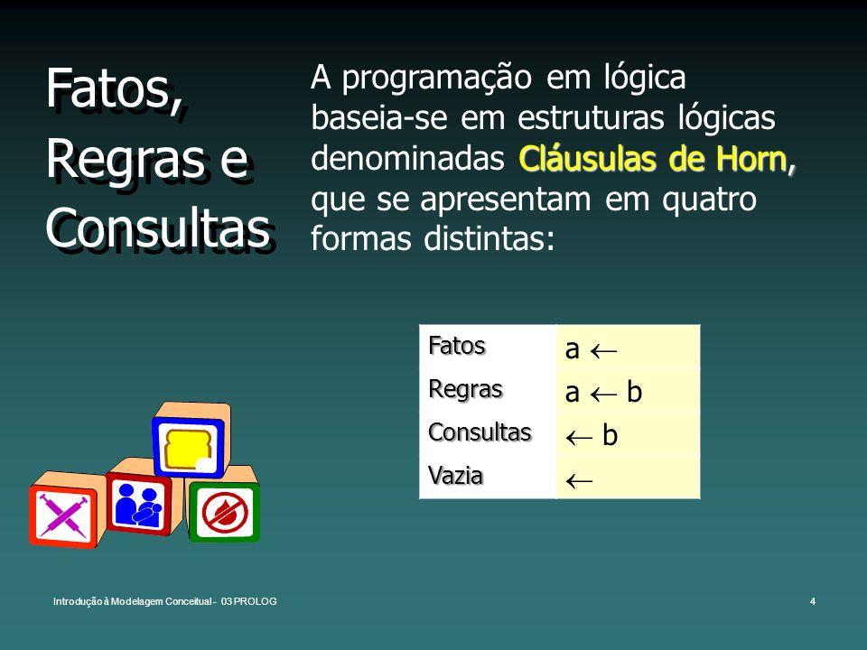 Introdução à Modelagem Conceitual - 03 PROLOG4 Fatos, Regras e Consultas Cláusulas de Horn, A programação em lógica baseia-se em estruturas lógicas de