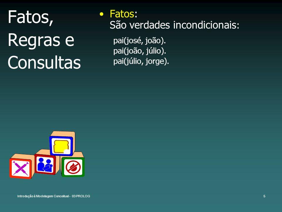 Introdução à Modelagem Conceitual - 03 PROLOG5 Fatos, Regras e Consultas Fatos: São verdades incondicionais : pai(josé, joão). pai(joão, júlio). pai(j