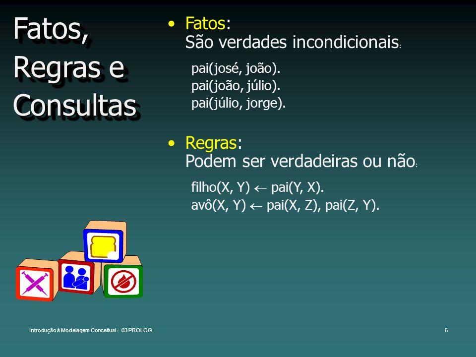Introdução à Modelagem Conceitual - 03 PROLOG6 Fatos, Regras e Consultas Fatos: São verdades incondicionais : pai(josé, joão). pai(joão, júlio). pai(j