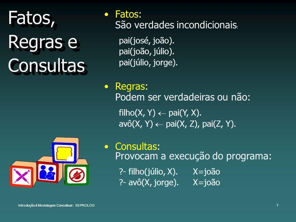 Introdução à Modelagem Conceitual - 03 PROLOG7 Fatos, Regras e Consultas Fatos: São verdades incondicionais : pai(josé, joão). pai(joão, júlio). pai(j