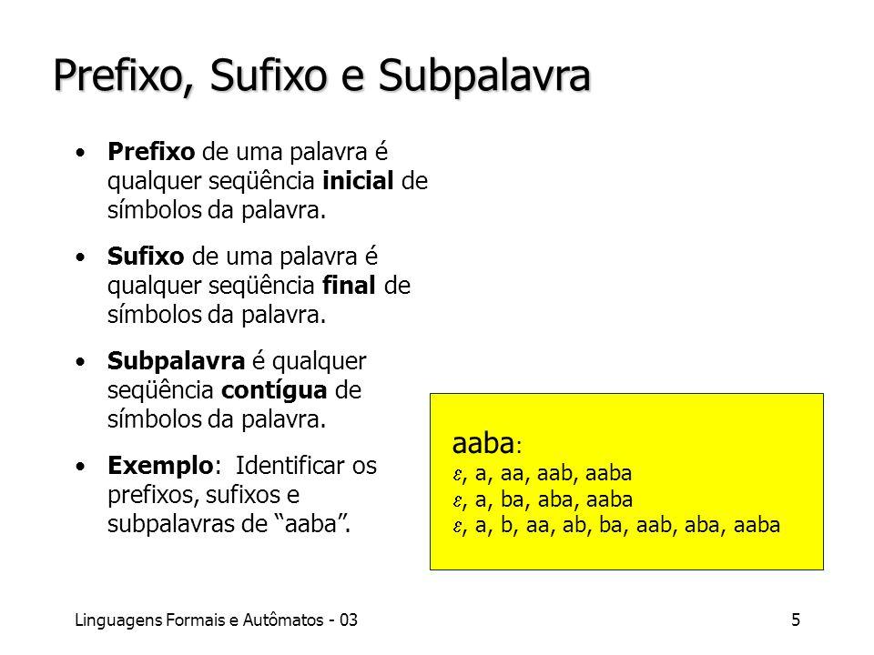 Linguagens Formais e Autômatos - 035 Prefixo, Sufixo e Subpalavra Prefixo de uma palavra é qualquer seqüência inicial de símbolos da palavra. Sufixo d