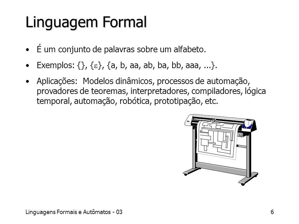Linguagens Formais e Autômatos - 036 Linguagem Formal É um conjunto de palavras sobre um alfabeto. Exemplos: {}, { }, {a, b, aa, ab, ba, bb, aaa,...}.