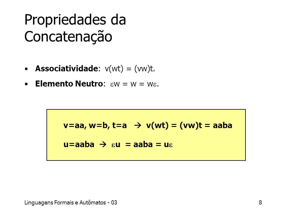 Linguagens Formais e Autômatos - 038 Propriedades da Concatenação Associatividade: v(wt) = (vw)t. Elemento Neutro: w = w = w. v=aa, w=b, t=a v(wt) = (