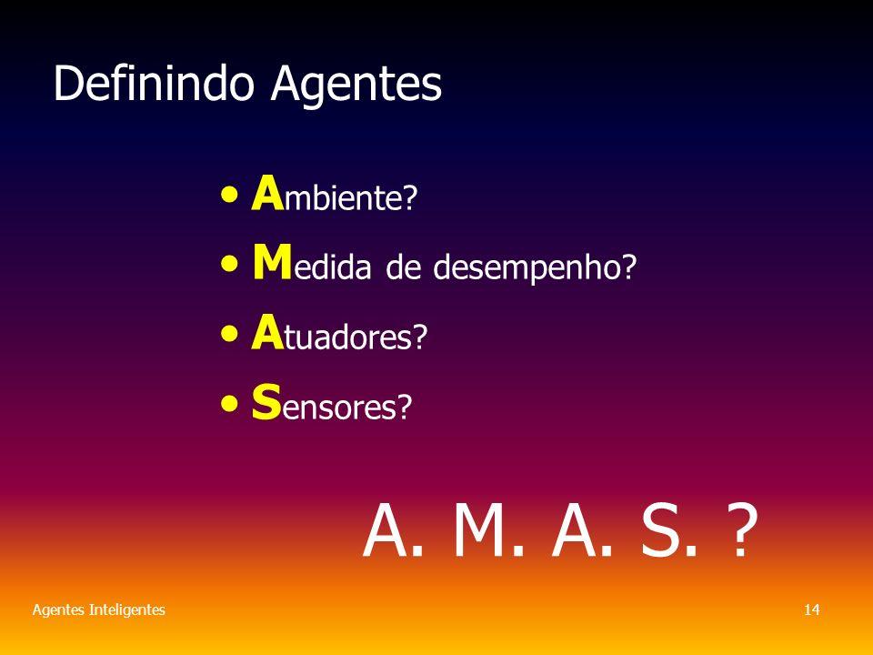 Agentes Inteligentes14 Definindo Agentes A mbiente.