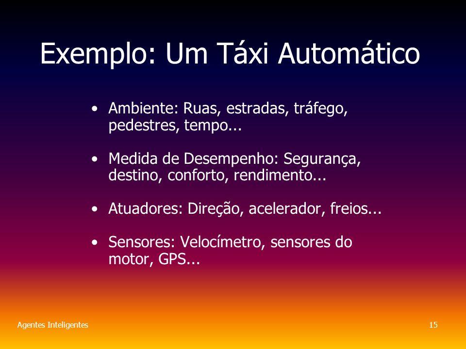 Agentes Inteligentes15 Exemplo: Um Táxi Automático Ambiente: Ruas, estradas, tráfego, pedestres, tempo...