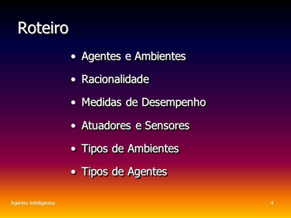 Agentes Inteligentes4 RoteiroRoteiro Agentes e AmbientesAgentes e Ambientes RacionalidadeRacionalidade Medidas de DesempenhoMedidas de Desempenho Atuadores e SensoresAtuadores e Sensores Tipos de AmbientesTipos de Ambientes Tipos de AgentesTipos de Agentes Agentes e AmbientesAgentes e Ambientes RacionalidadeRacionalidade Medidas de DesempenhoMedidas de Desempenho Atuadores e SensoresAtuadores e Sensores Tipos de AmbientesTipos de Ambientes Tipos de AgentesTipos de Agentes
