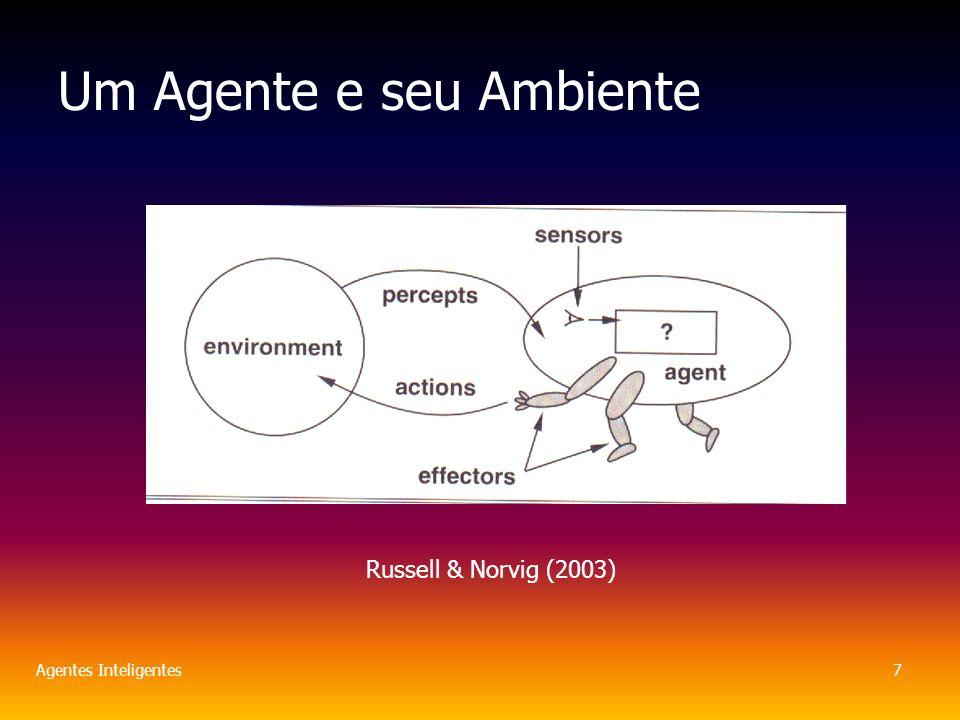 Agentes Inteligentes7 Um Agente e seu Ambiente Russell & Norvig (2003)