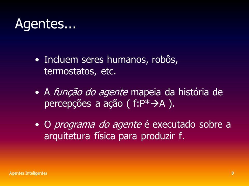 Agentes Inteligentes8 Agentes... Incluem seres humanos, robôs, termostatos, etc.